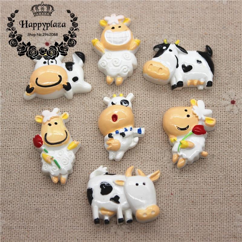 10 Uds lindo Animal de dibujos animados vaca resina de cabujón con respaldo plano encanto DIY joyería/artesanía Decoración