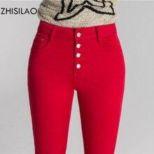 ZHISILAO 2020 femme jean moulant jean Denim Pantalon crayon jean femme Pantalon femme Pantalon Mujer taille haute décontractée Pantalon rouge