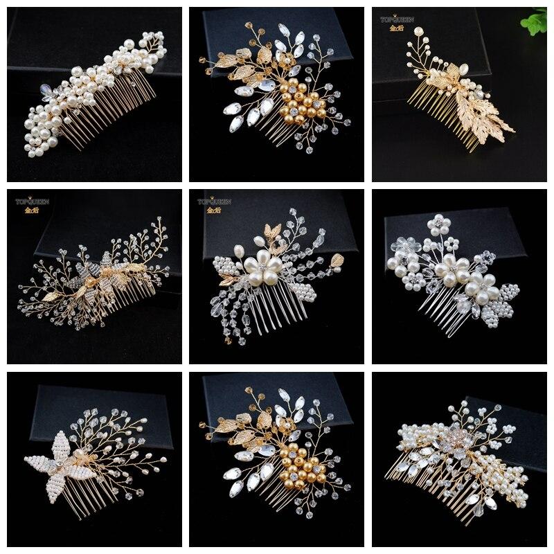 TOPQUEEN Wedding Hair Pins with Diamonds Bridal Beads Hair Clips Wedding Hair Comb Rhinestones Gold Bridal Hair Pins for Woman