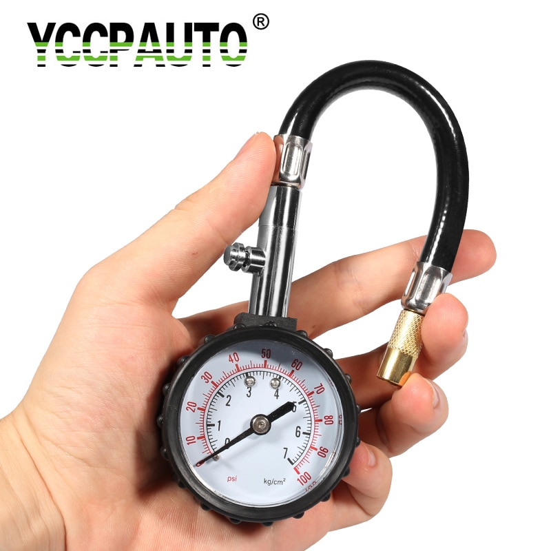YCCPAUTO Long Tube Tire pressure gauge meter 0-100Psi High-precision Tyre Air Pressure Tester For Car Motorcycle Universal