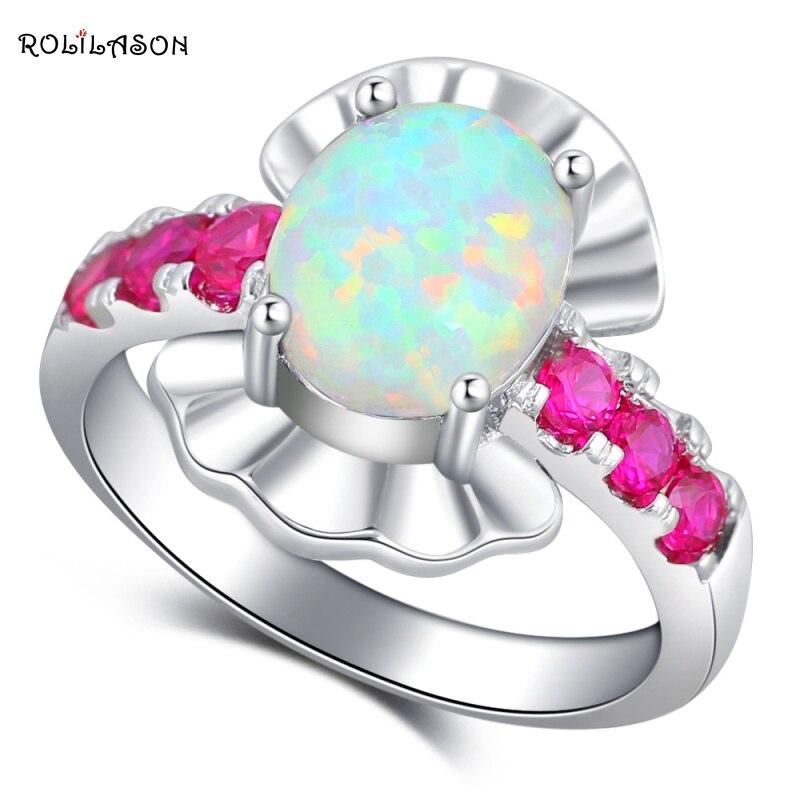 ROLILASON elegante diseño rosa zirconia blanco ópalo fuego joyería de moda plateada anillos EEUU tamaño #6 #7 #8 #9 #10 OR867