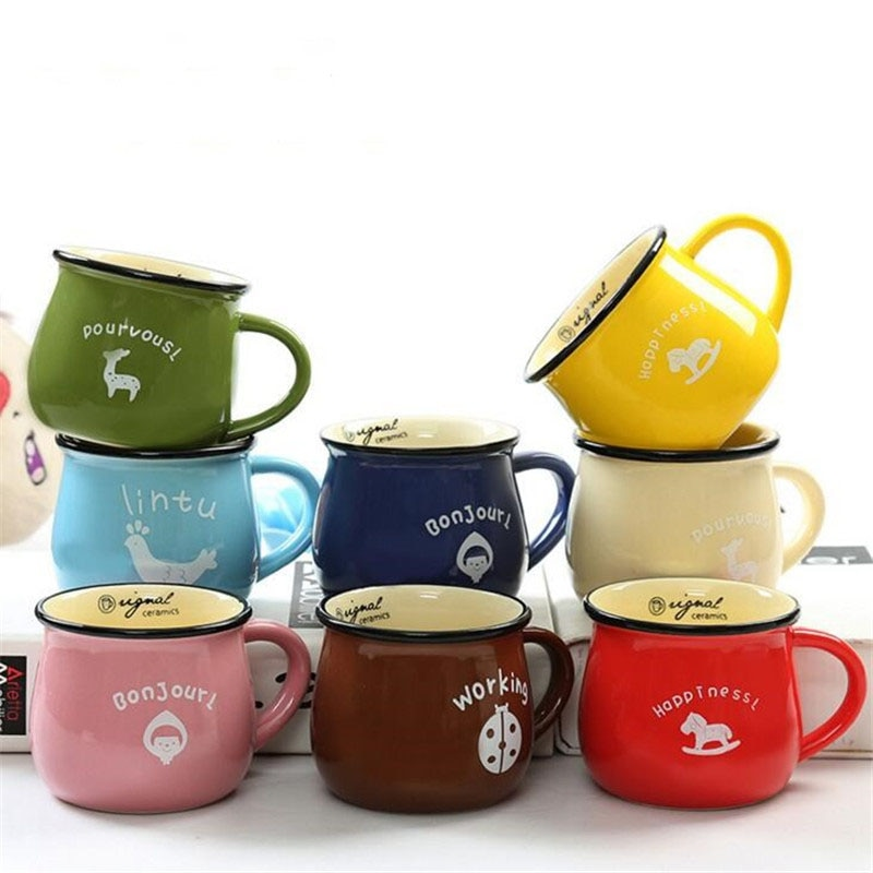 FEIGO 150/250/380ml Hot Creative Candy Color 3D Ceramic Mug Coffee Milk Breakfast Cup Cute Porcelain Tea Mugs Novetly Gifts F247