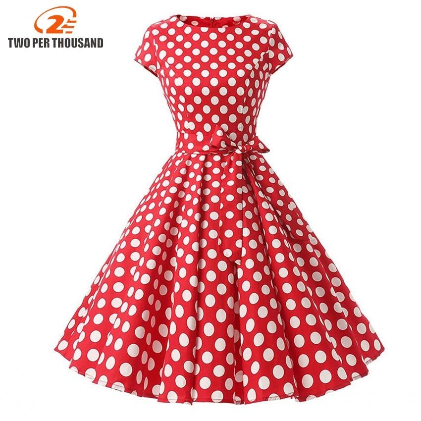 2018 Women Robe Swing Dress Retro Pin Up Vintage 1950s Rockabilly Dot Summer female Dresses Elegant Tunic Vestidos