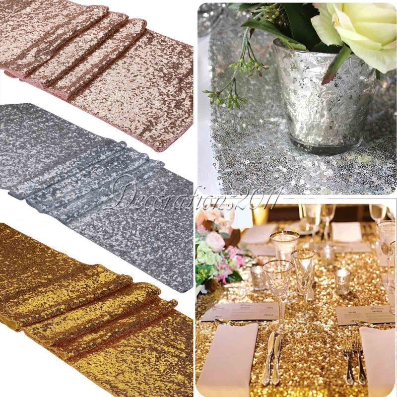 10 unids/lote 30x275cm camino de mesa de lentejuelas dorado de lujo decoración de mesa de fiesta de boda Color sólido caminos de mesa de oro rosa bodas