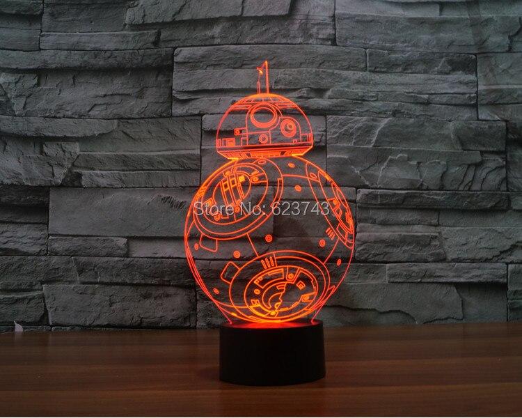 Livraison gratuite 2016 nouveau t-touch coloré BB8 star wars lumière vacances décoration 3D BB-8 led veilleuse bb-8 nuit sabre laser