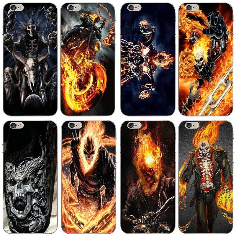 Мягкие ТПУ чехлы для мобильных телефонов Fundas модный Череп Байкер демон дух Райдер для iPhone 4 4S 5 5S SE 6 6S 7 8 X XR XS Max Plus сумки