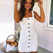 2019 Sexy Bodycon Summer Backless Dress Sleeveless Spaghetti Strap Bandage Button Mini Dress Party Casual Basic Beach Dress