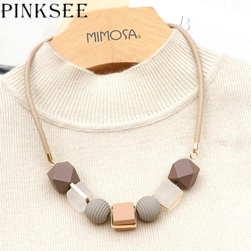 PINKSEE couleur bois pendentif rond perlé collier à la mode chandail chaîne géométrique bijoux accessoires pour les femmes
