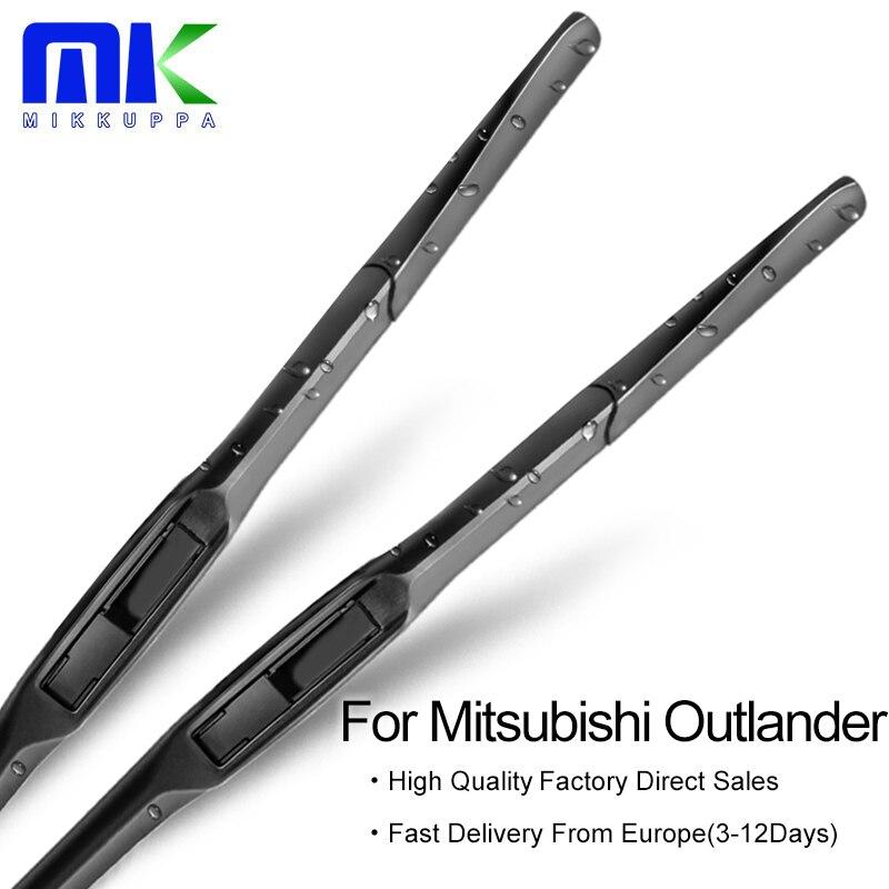 Mikkuppa limpiaparabrisas híbridos para Mitsubishi Outlander Fit Hook Arms modelo año de 2003 a 2018