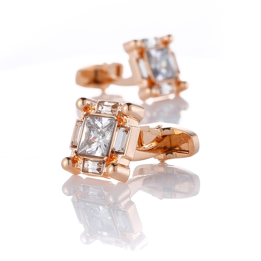 Luxury Rose Gold Crystal Mens Cufflinks Wedding Gifts Shirt Cuff links High Quality Cufflink Business Buttons Jewelry luxury fashion laser engraved check sudoku design cufflink 18 style for mens brand cuff buttons cuff links high quality jewelry