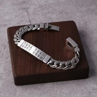 manufacturers wholesale s925 sterling silver jewelry retro thai silver personality classic six word mantra mens bracelet homme
