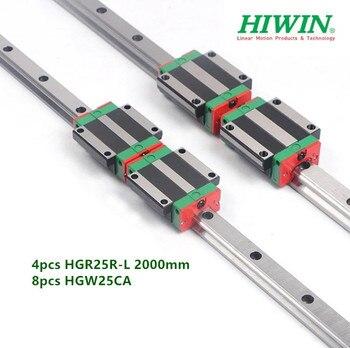 4pcs 100% Original Hiwin Linear rail HGR25R L 2000mm + 8pcs HGW25CA HGW25CC Flanged block bearings for cnc