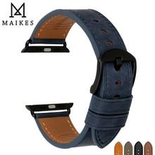 MAIKES หนังคุณภาพสูงสำหรับสายนาฬิกา Apple 42มม.38มม./44มม.40มม.4/3/2/1ทุกรุ่น IWatch Watchband
