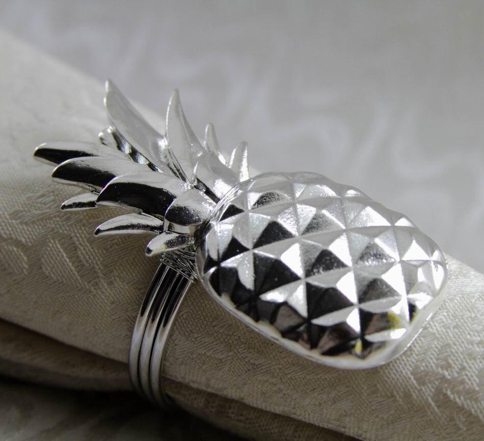 الذهب الفضة حلقة مناديل مائدة معدنية الأناناس ، حامل مناديل لحفل الزفاف ، منديل الديكور 24 قطعة شحن مجاني