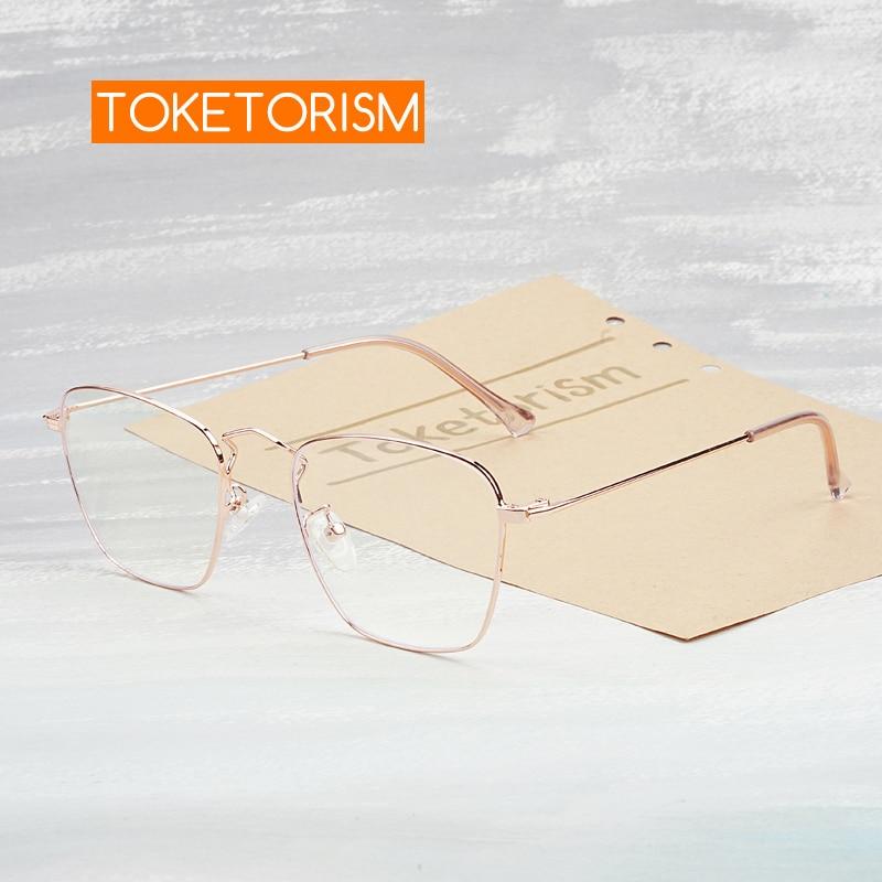 Lunettes anti-radiation à monture carrée   Toketorism lunettes à lumière bleue pour femmes, montures optiques 0403