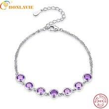 BONLAVIE violet améthyste 925 Bracelet en argent Sterling pour les femmes pierres précieuses bracelets bracelets livraison directe bijoux fins 7.99 pouces