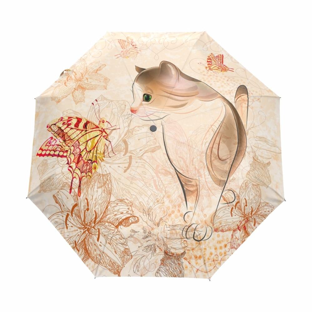 Женский ветрозащитный зонт с милым принтом кота, непромокаемые автоматические зонты для дождливой погоды, три складных анти-УФ зонта, Paraguas