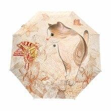 Parapluie de pluie pour femmes   Imprimé chat mignon, parapluie coupe-vent, automatique imperméable, parapluie pour femmes, Parasol trois pliants, anti-pluie, Anti-UV paraguay