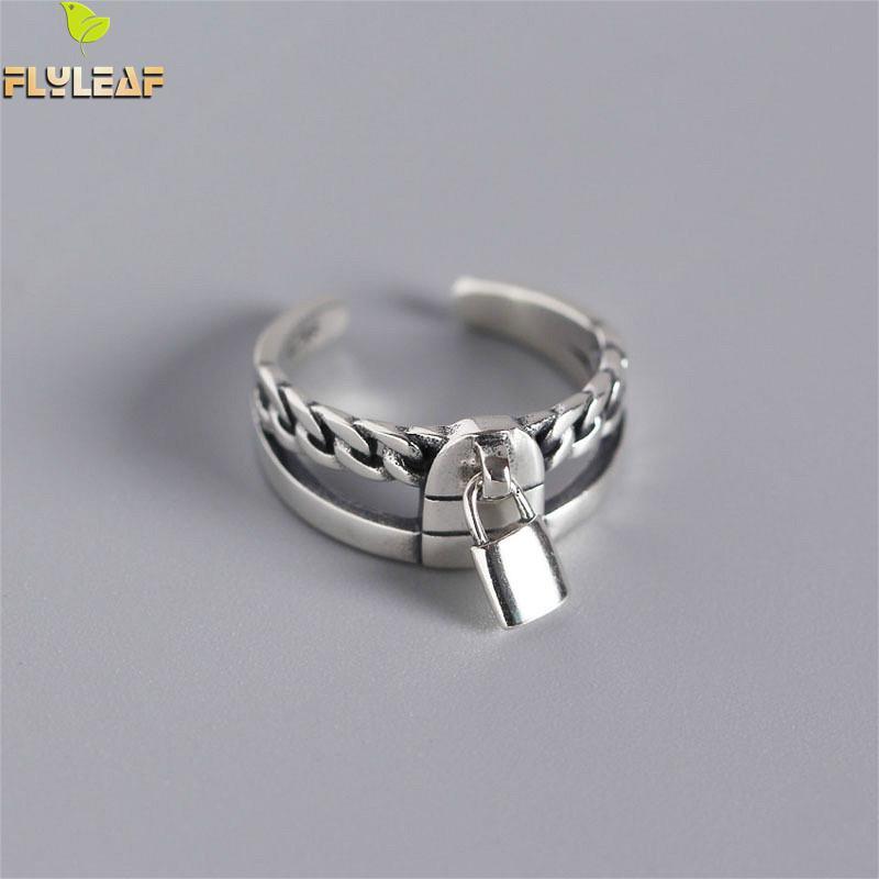 Женское Двухслойное кольцо Flyleaf, геометрическое Винтажное кольцо с цепочкой-замком из серебра 925 пробы