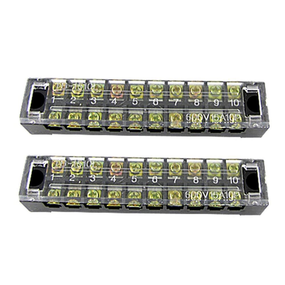 10 полюсов соединитель барьер клеммные полосы блок 600 в 15A