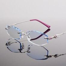 Gafas sin montura, gafas de diamante, gafas de moda para mujer, bonitas gafas graduadas con carácter, miopía hipermetropía 45