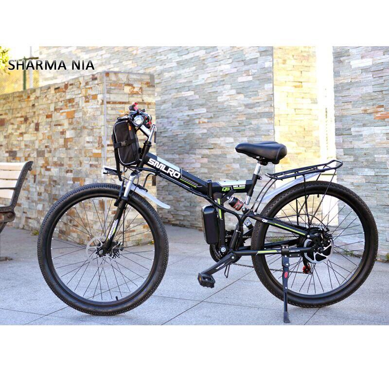 Bicicleta eléctrica de 26 pulgadas potente bolsa delantera 48V 12AH 500W bicicleta de montaña plegable 21 bicicleta eléctrica de alta velocidad Rusia envío gratis