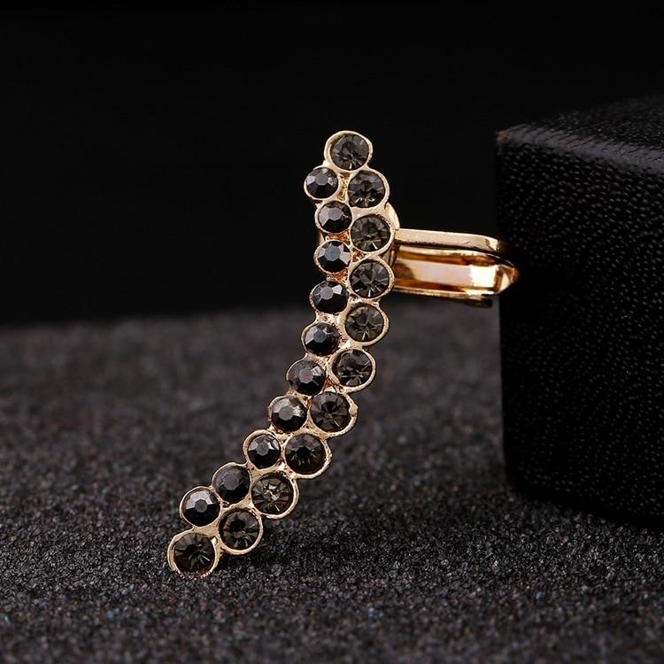 Pendientes de cristal clásicos negros de doble fila, joyas de diamantes de imitación Punk para mujer, pendiente de la oreja curvada, pendiente de Clip completo de circonita