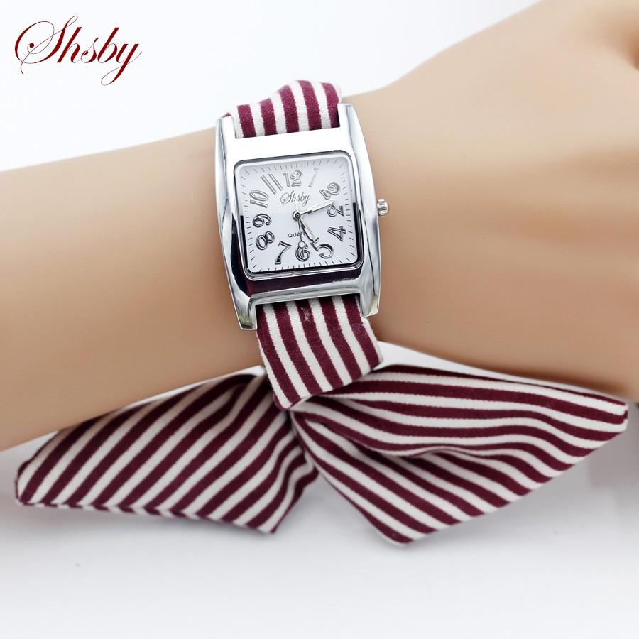 Shsby новые женские наручные часы в полоску, женские наручные часы, высококачественные часы из ткани, милые наручные часы для девочек