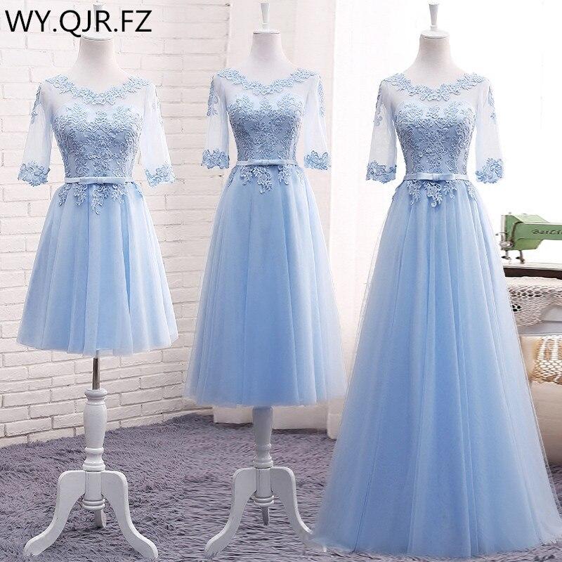 Платье подружки невесты на шнурках MNZ-609 #, длинное платье синего цвета, цвета шампанского, большого размера на заказ, 2019