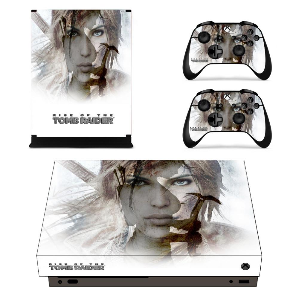 Pegatina de piel Rise of Tomb Raider para Xbox One X, consola y controladores, pegatinas de piel para Xbox One X, vinilo de piel