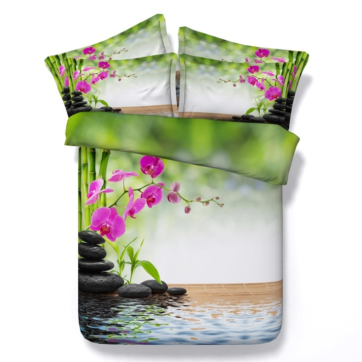 Bambus bettwäsche set floral Aqua bettbezug bettdecke bett bettwäsche doona steppdecke twin königin king size doppel einzigen 4 stücke