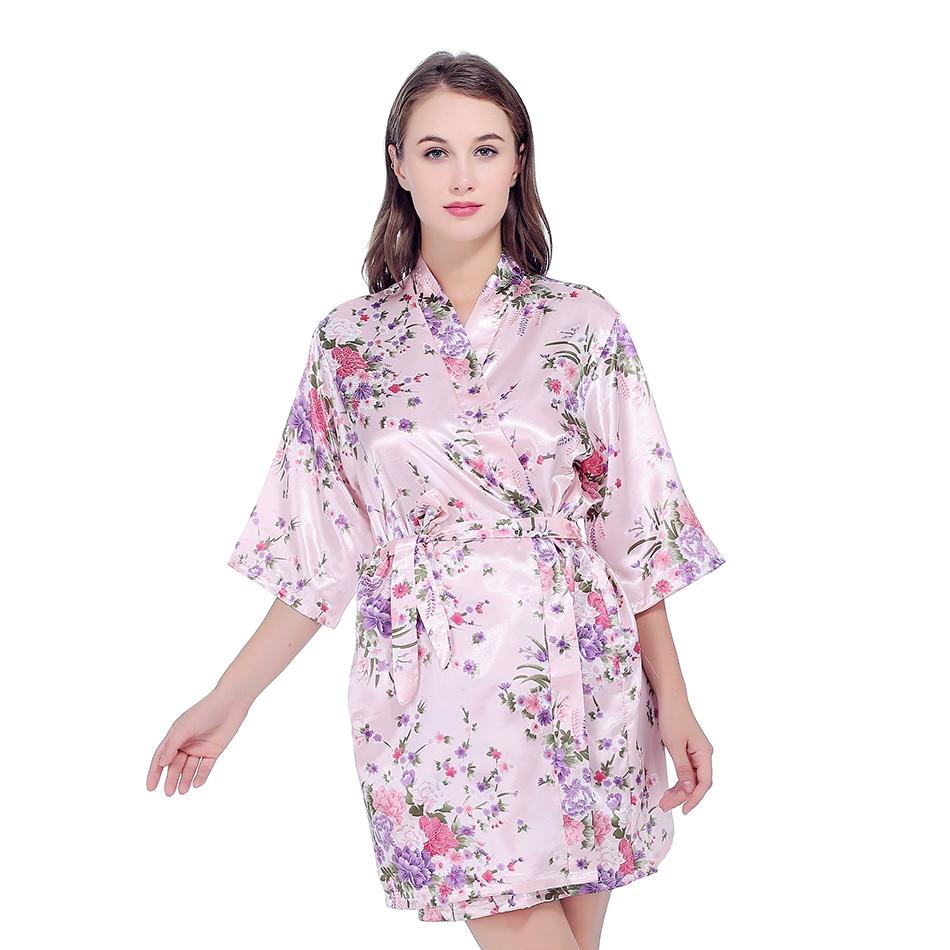 Bata de seda satinada para boda, bata de dama de honor de la novia Floral, bata Kimono corta, bata de noche, bata de baño, bata de moda para mujer