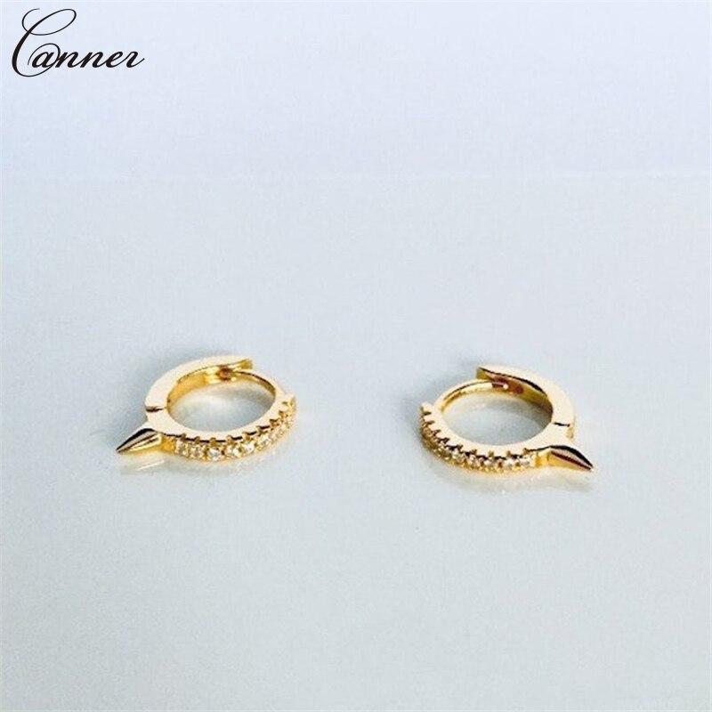 CANNER Punk Small Hoop Earrings for Women CZ Crystal Zircon Circle Earrings Gold Color Huggie Earings 925 Silver 2019 Jewelry Q4