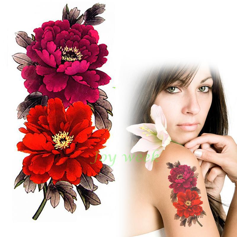 Tatuaje temporal a prueba de agua de las Mujeres de China flor reina peonía tatuaje pegatinas flash tatuaje falso tatuajes para niña