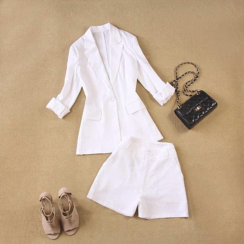 2 sets of women's 2020 spring and summer new linen set breathable white long-sleeved suit jacket + wide leg shorts two-piece