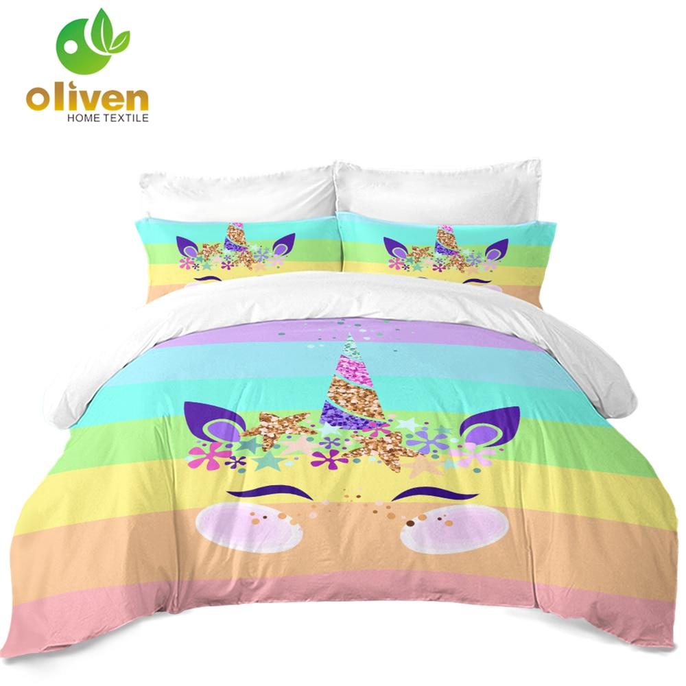 Cute Unicorn Bedding Set Colorful Rainbow Striped Duvet Cover Set Kids Cartoon Bedding Twin Full Queen King Bedclothes 3Pcs D45