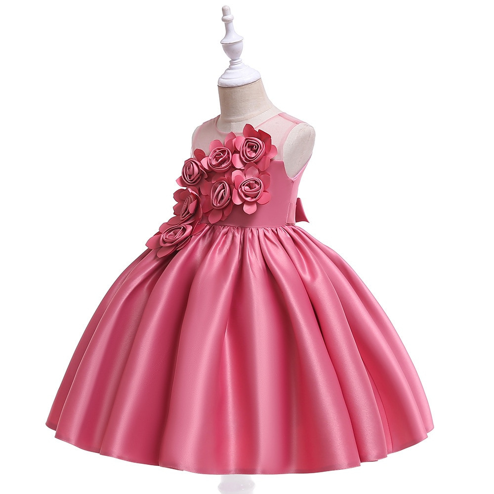 elegant flower girl dress for wedding kids sleeveless lace tulle pageant ball gowns long princess dresses girls party dresses Princess Pink Lace Flower Girl Dresses Tulle Girls Pageant Dresses First Communion Dresses Kids Evening Gowns