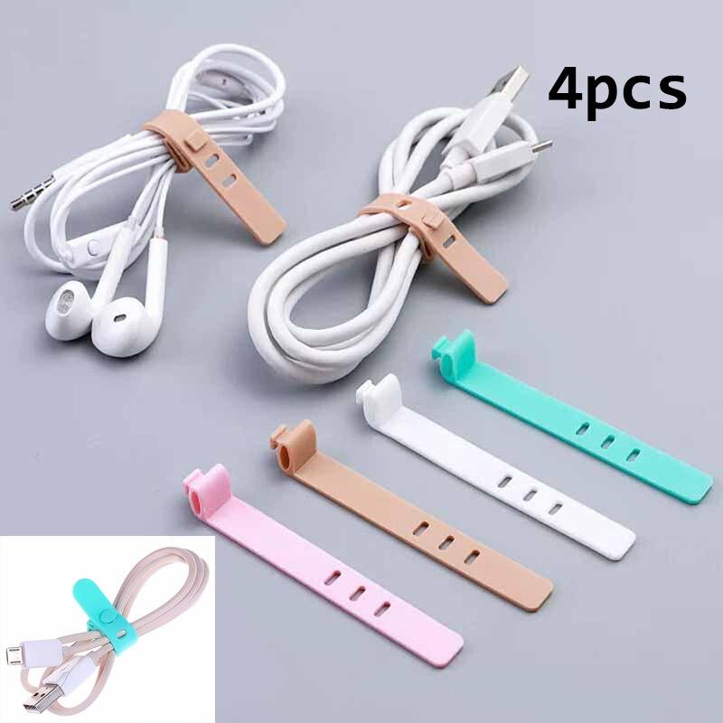 4 шт., силиконовый органайзер для кабеля, usb-кабель для передачи данных, держатель для намотки шнура, защита для проводов, офисный стационарный Настольный набор, аксессуары, принадлежности