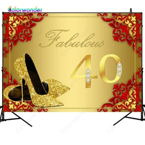 Colorwonder Photography Background Golden High-heeled Shoes 7x5ft Red Printings Golden Seamless Backdrop for Forty Birthday Prop