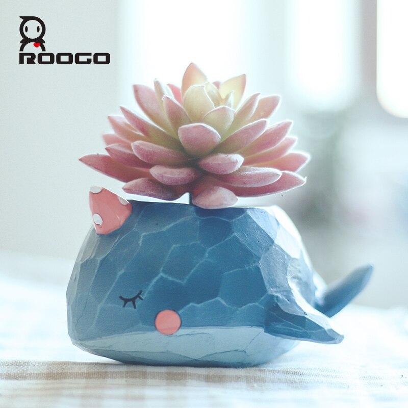 Roogo maceta de flores, macetas de plantas, macetas de Cactus suculento con ballena azul, macetas de jardín para interiores, accesorios de decoración del hogar