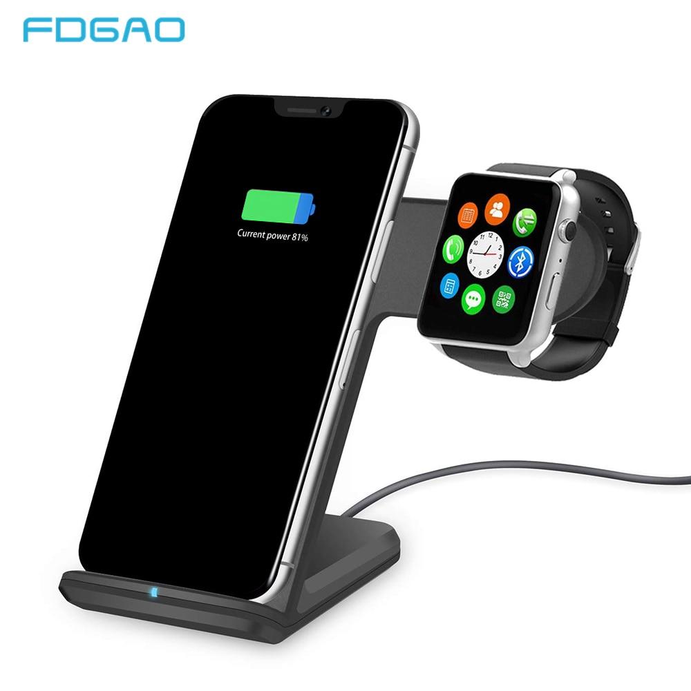 FDGAO Qi inalámbrico cargador para Apple reloj 4 3 2 iPhone 8 Plus X XS X Max XR Samsung S9 S8 USB rápido carga inalámbrica rápida soporte