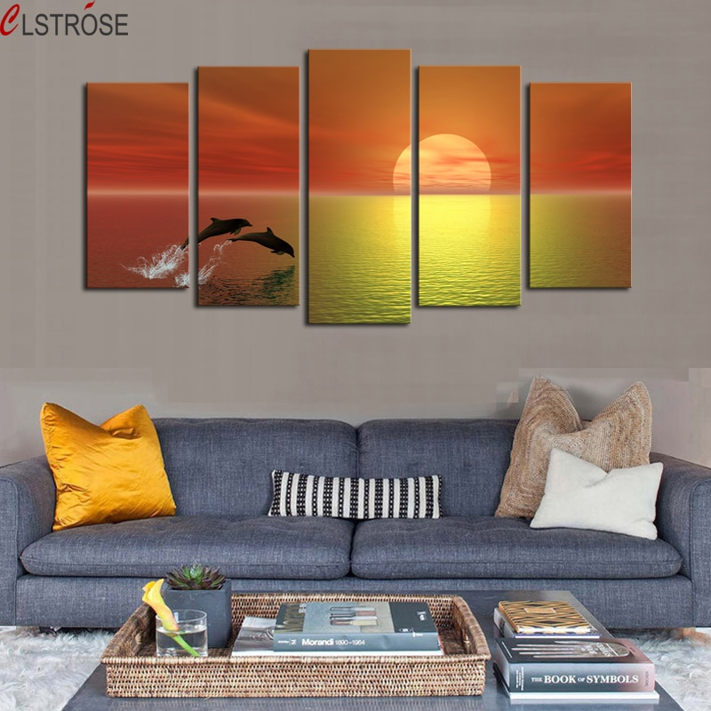 CLSTROSE Painting Luxry 5 Panels No Frame Dolphin Seaview Modern Home Wall Decor Painting Canvas Art HD Print Picture For Decor