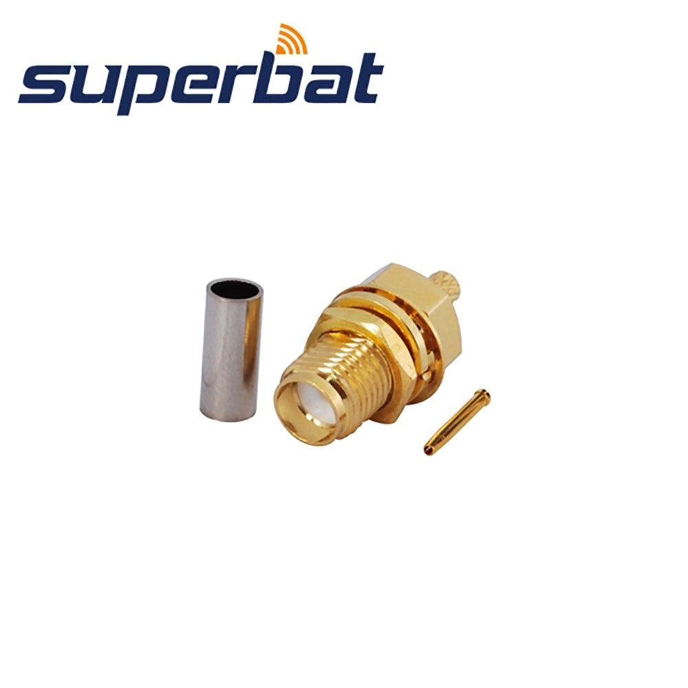Superbat SMA Crimp Jack Bulkhead RF Coaxial Connector for RG-174,RG-188A,RG316,LMR100 Cable