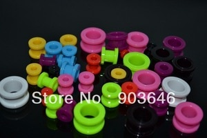 Free Shippment  100pcs Body Jewelry-Acrylic Neon Color Ear Plugs Ear Tunnels Screw On Gauges 2MM uo to 14mm(9 SIZES)