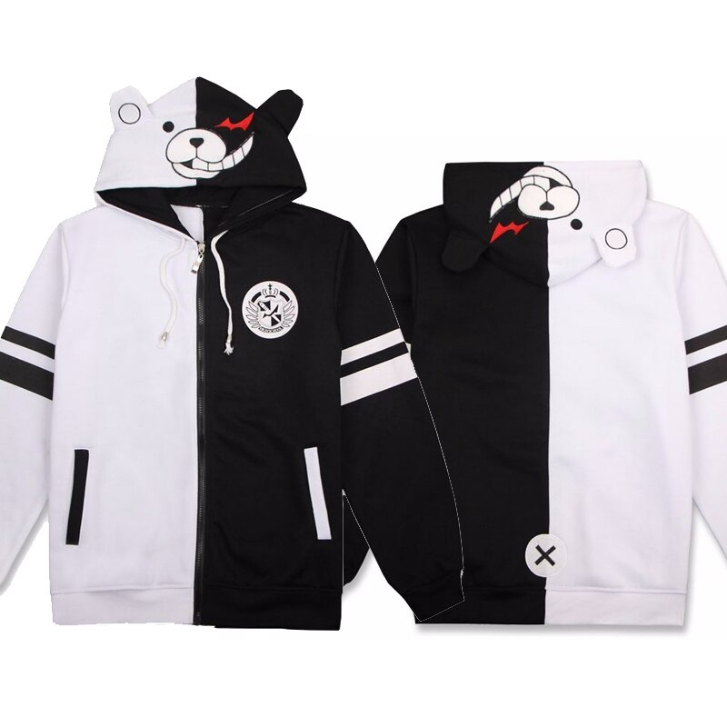 Disfraz de Anime Danganronpa Monokuma, bonito disfraz de oso blanco y negro, Sudadera con capucha, chaqueta de manga larga, envío directo