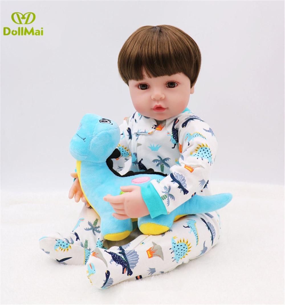 "Large  24"" Reborn Baby boy Doll soft Body Silicone Vinyl baby dolls Lifelike Toddler  Bebes Reborn Bonecas Kid real Dolls gift"