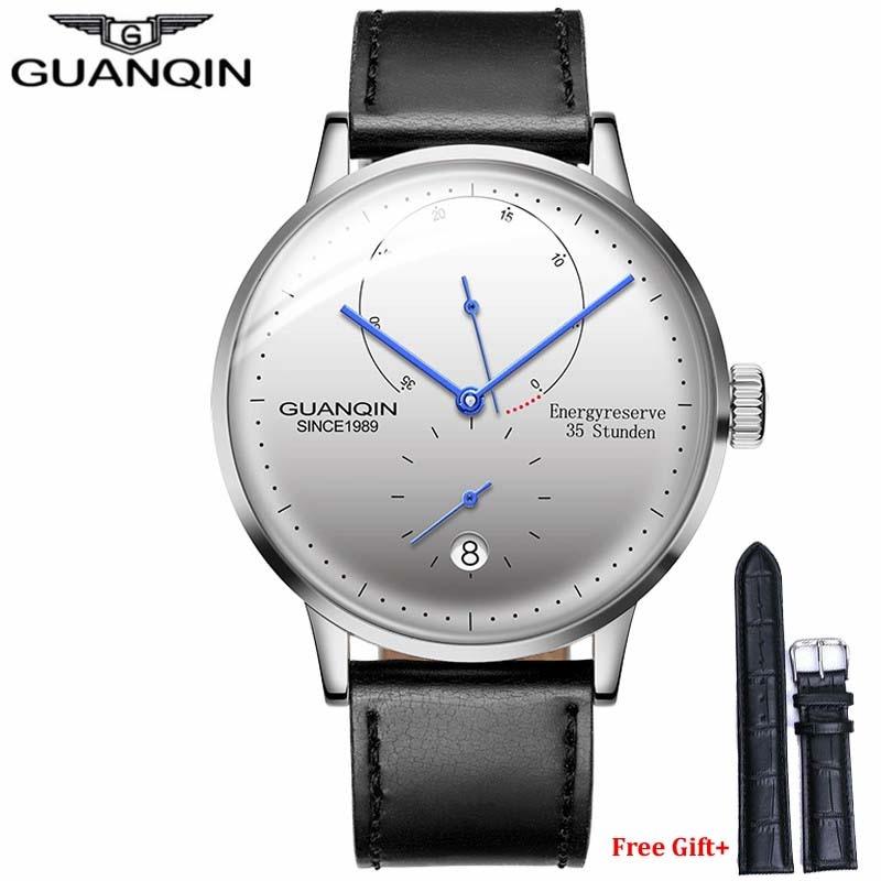 GUANQIN الرجال الساعات العلامة التجارية الفاخرة ساعة عادية حزام من الجلد الياقوت مقاوم للماء التناظرية التلقائي ساعة اليد الميكانيكية رجالي