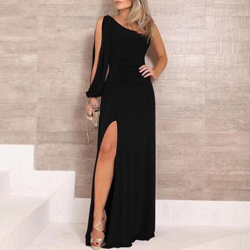Vestido largo dividido de fiesta de manga larga con un hombro, Vestidos sexis ajustados para mujer, vestido Maxi negro elegante para mujer