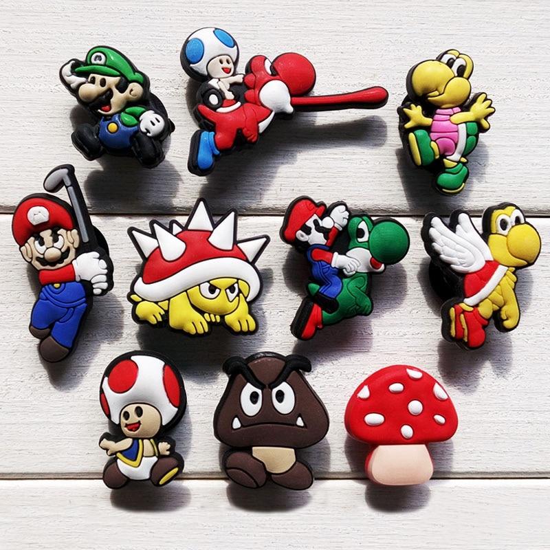 Novelty 10PCS Super Mario Bros Cute PVC Cartoon Shoe Charms PVC Shoe Buckle Accessories fit for Bracelets Bands Croc JIBZ  Gifts