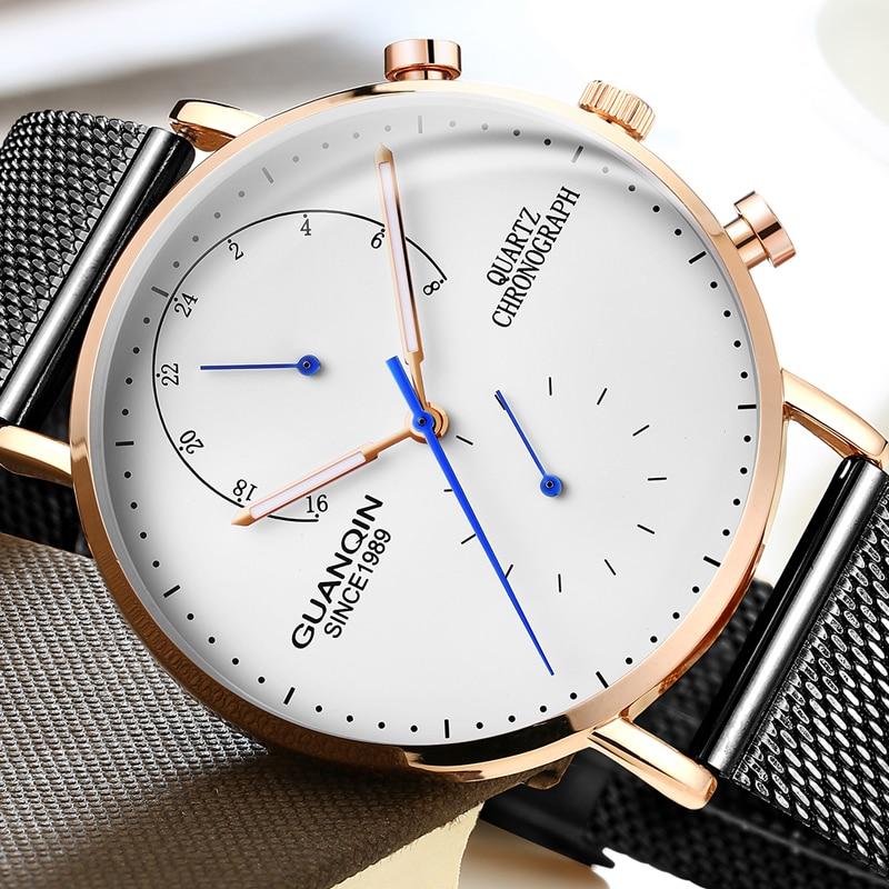 GUANQIN Herren Uhren Top Brand Luxus Leuchtende Uhr Herren Kreative Edelstahl Quarz Armbanduhr Relogio Masculino